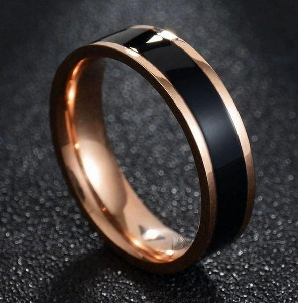 Men's Engraved Wedding Band Black Ceramic Inlay Rose Gold IP - Think Engraved