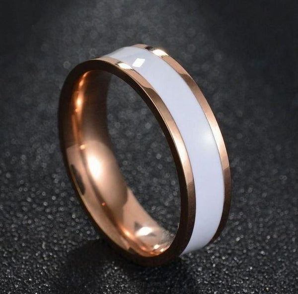 Men's Engraved Wedding Band White Ceramic Inlay Rose Gold IP - Think Engraved