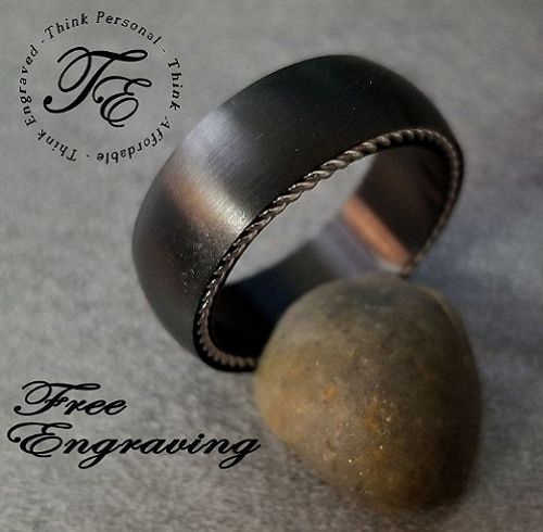 Personalized Black Wire Inlay Men's Promise Ring Wedding Band - Think Engraved