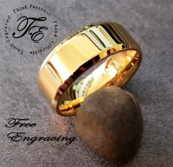 Engraved 14k Gold IP Beveled Men's Promise Ring Band 8MM - Think Engraved