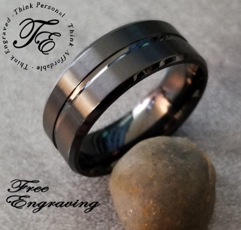 Men's Promise Ring Engraved Matte Black Center line Wedding Band