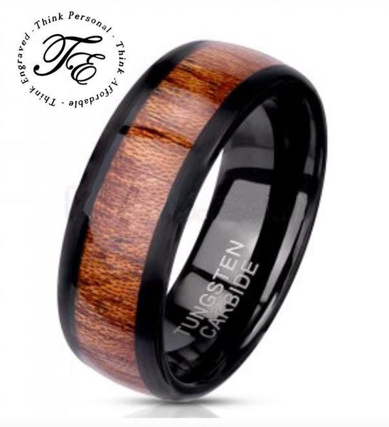 Mens Engraved Tungsten Ring Wood Inlay - Think Engraved