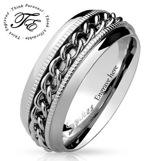 Engraved SS Chain Spinner Men's Promise Ring Band 8MM - Think Engraved