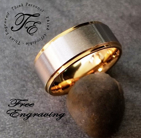 Men's Promise Ring or Wedding Band Engraved 14k Ip Brushed - Think Engraved