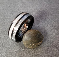 Mens Black Engraved Tungsten Wedding Band Meteorite and Antler Inlays