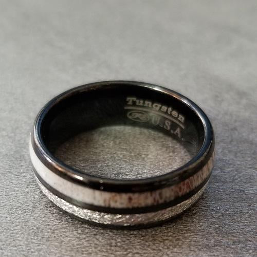 Mens Black Engraved Tungsten Wedding Band Meteorite and Antler Inlays - Think Engraved
