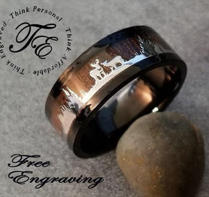 Men's Engraved Wedding Ring Wood and Deer Inlays Promise ring - Think Engraved