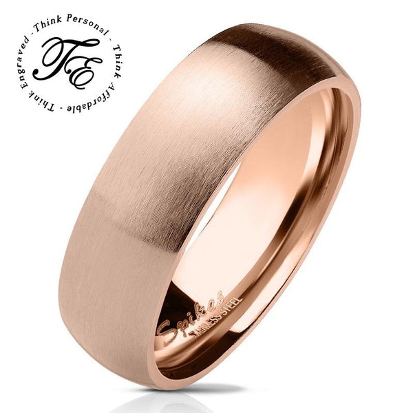 Men's Promise Ring Engraved Rose Gold Coated