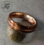 Mens Engraved Copper Tungsten Wedding Band Broze color