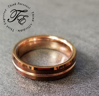 Mens Engraved Copper Tungsten Wedding Band Broze color - Think Engraved