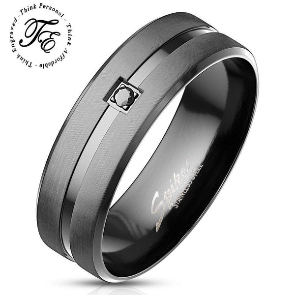 Mens Engraved Wedding Band Ring Matte Black and Black Gem