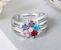 Mother's Ring 5 Birthstones 5 Engraved Names Flower Design