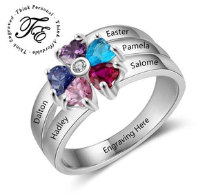 Mother's Ring 5 Birthstones 5 Engraved Names Flower Design - Think Engraved
