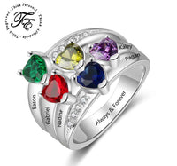 Mother's Ring 5 Birthstones 5 Engraved Names