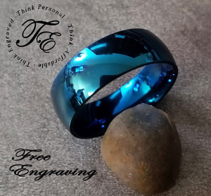 Men's Engraved Promise Ring or Wedding Band Blue Dome - Think Engraved