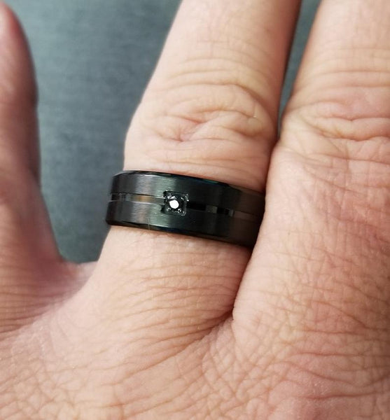 Mens Engraved Promise Ring Matte Black and Black Gem - Think Engraved