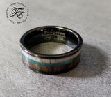 Personalized Men's Tungsten Wedding Band Antler, Abalone and Wood Inlay - Think Engraved