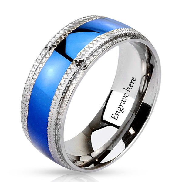 Engraved Blue and Silver Men's Promise Ring Band 8MM - Think Engraved