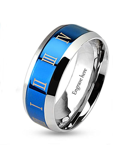 Engraved Roman Numerals Blue Design Men's Promise Ring Band 8MM - Think Engraved