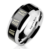 Men's Promise Ring  Engraved Roman Numerals Black 8MM