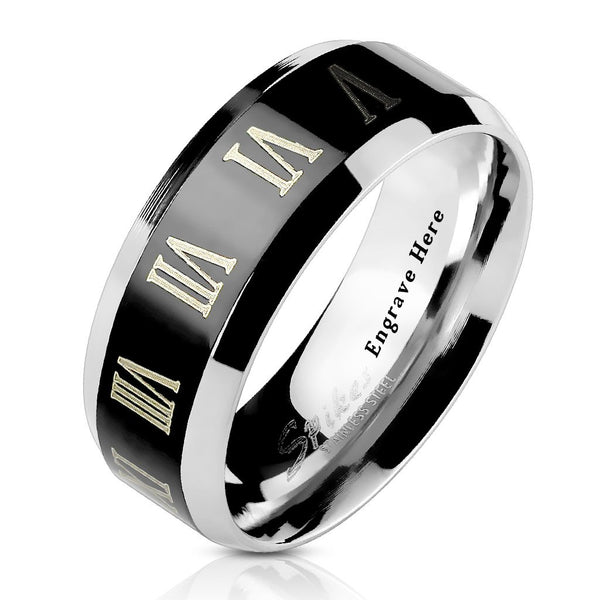 Men's Promise Ring  Engraved Roman Numerals Black 8MM - Think Engraved