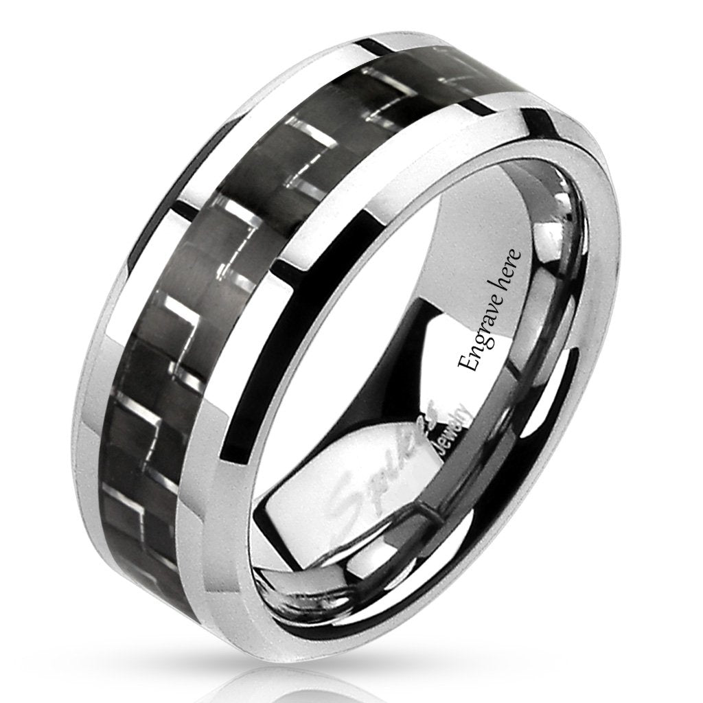 Black White Carbon Fiber Men's Promise Ring Band 8MM - Think Engraved