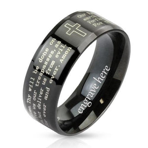 Personalized Christian Cross and Lord's Prayer Ring 6mm - Think Engraved
