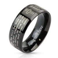Personalized Christian Cross and Lord's Prayer Ring 8mm - Think Engraved