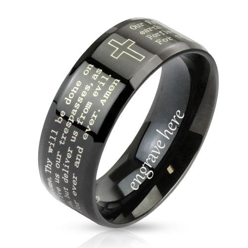 Personalized Christian Cross and Lord's Prayer Ring 6mm