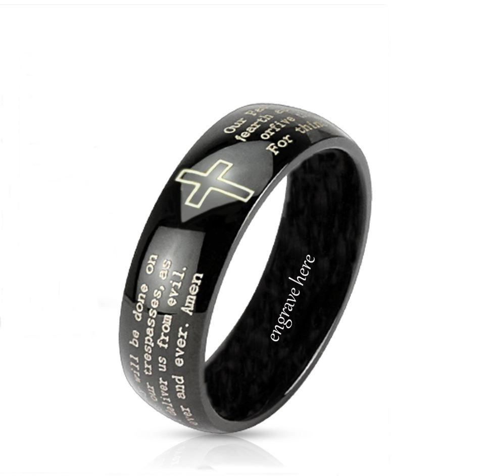 Personalized Christian Cross and Lord's Prayer Dome Ring 6mm - Think Engraved