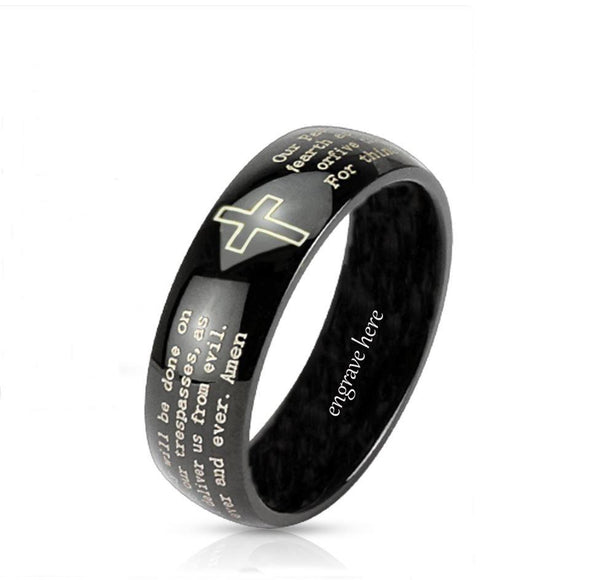 Personalized Christian Cross and Lord's Prayer Dome Ring 8mm