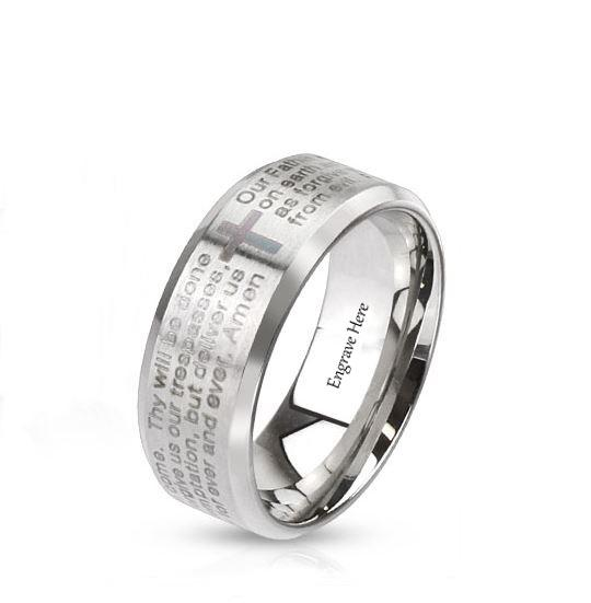 Personalized Brushed Stainless Prayer Ring 8mm
