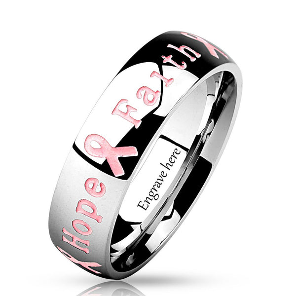 Personalized Courage Strength Hope Faith Breast Cancer Awareness Ring - Think Engraved