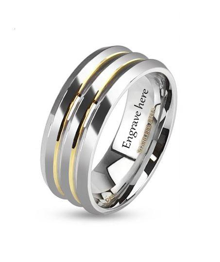 Engraved Gold Lines Promise Ring Wedding Band 6mm - Think Engraved