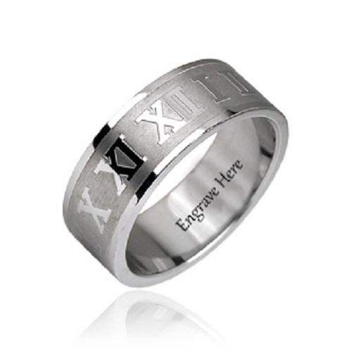 Engraved Roman Numerals Silver Design Men's Promise Ring Band 8MM