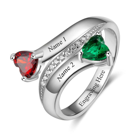 2 Stone Angled Hearts Mothers or Promise Ring - Think Engraved