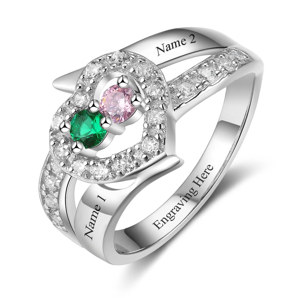 2 Stone Jeweled Hearts Mothers Ring or Promise Ring - Think Engraved