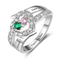 2 Stone Jeweled Hearts Mothers Ring or Promise Ring