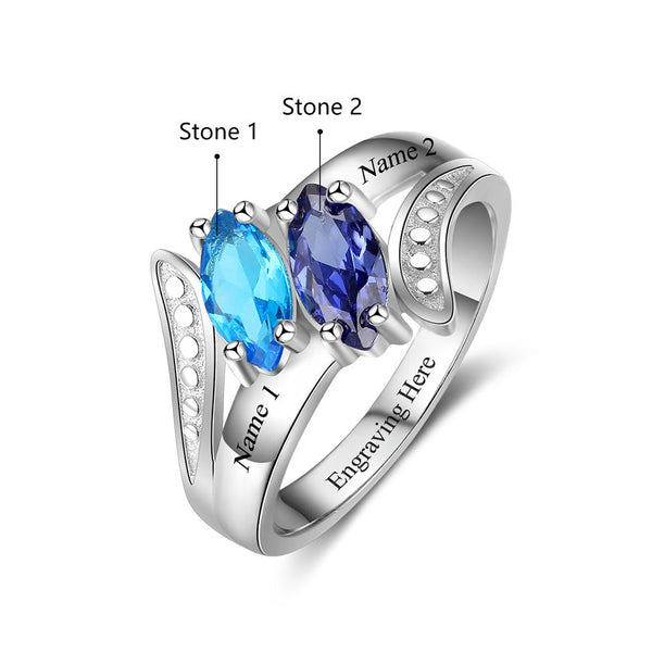 2 Stone Classic Marquis Personalized Mom Ring or Couples Ring - Think Engraved