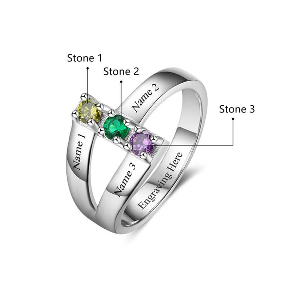 f6a8178f5f ... 3 Stone Stacked Ribbon Band Mother's Ring or Mom Ring - Think Engraved  ...