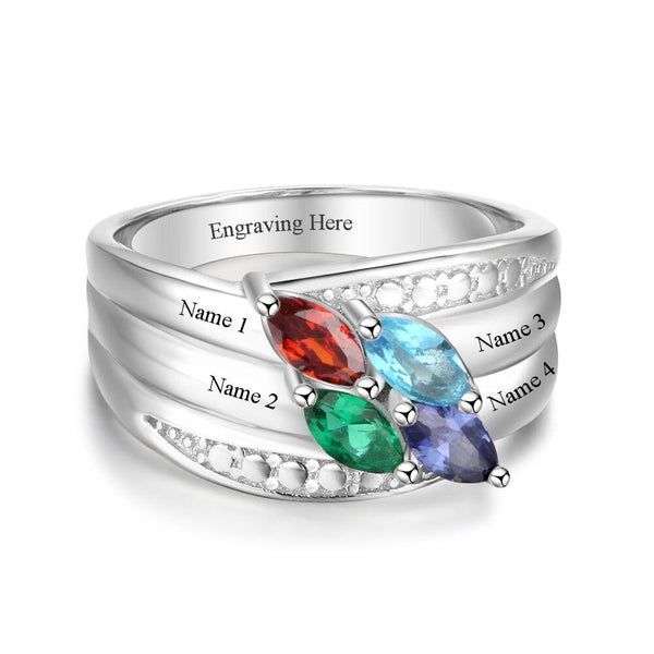 4 Stone Marquis Gems Mothers Family Ring or Grandmothers Ring - Think Engraved