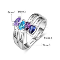 4 Stone Tear Drop Gems Mothers Family Ring or Grandmothers Ring - Think Engraved
