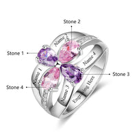 4 Stone Drop Cut Double Bow Mother's Ring
