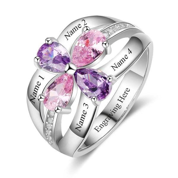 4 Stone Drop Cut Double Bow Mother's Ring - Think Engraved
