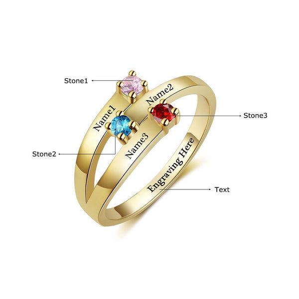 3 Stone 14k Gold Ribbon Band Mother's Ring - Think Engraved