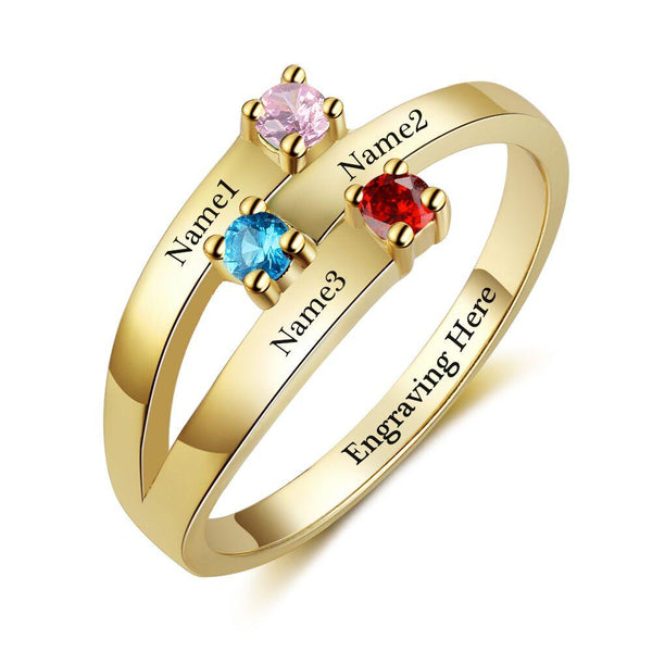 3 Stone 14k Gold Ribbon Band Mother's Ring