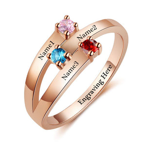 3 Stone 14k Rose Gold Ribbon Band Mother's Ring - Think Engraved