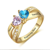 2 Stone United Hearts 14k Gold IP Mother's Promise Ring