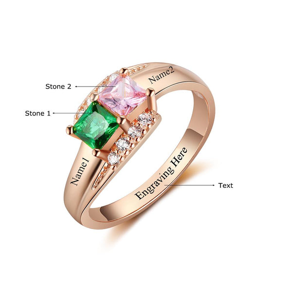 2 Stone Splendid Rose Gold IP Mothers Ring or Promise Ring - Think Engraved