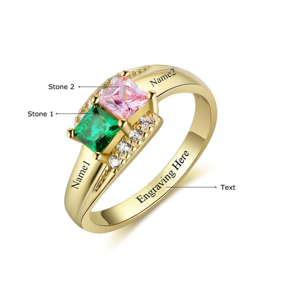 2 Stone Splendid 14k Gold IP Mothers Ring or Promise Ring - Think Engraved